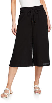 Eileen Fisher Lofty Organic Cotton Gauze Wide-Leg Drawstring Crop Pants