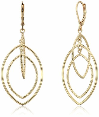 Anne Klein Women's Gold Diamond Textured Orbital Earrings Size 0
