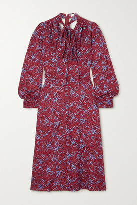 See by Chloe Pussy-bow Floral-print Crepe Midi Dress - Red