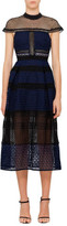 Self-Portrait Crosshatch Panelled Midi Dress