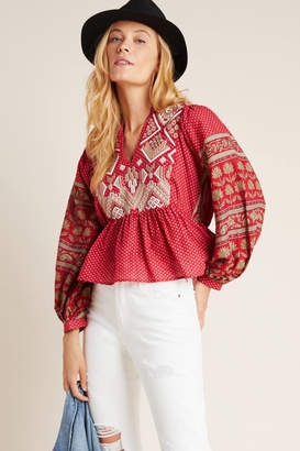 Anthropologie Keira Embroidered Peplum Blouse