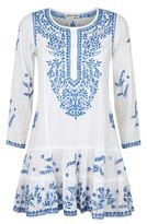 Juliet Dunn Embroidered Drop Waist Dress