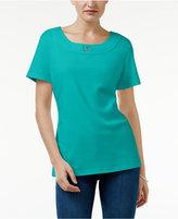 Karen Scott Buckle-Trim T-Shirt, Only at Macy's