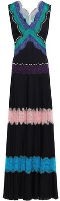 Emilio Pucci Lace-paneled Studded Silk Crepe De Chine Gown