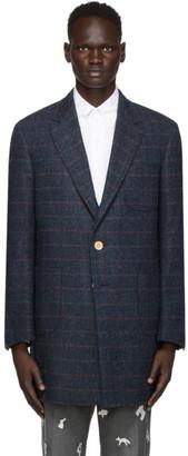 Thom Browne Navy Tweed Harris Chesterfield Sack Coat