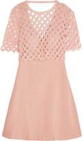 Sandro Crochet-Paneled Cotton And Linen-Blend Mini Dress