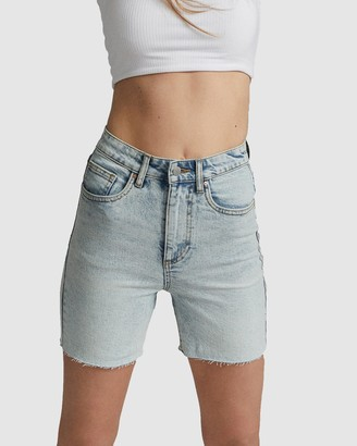 Cotton On Women's Blue Denim - Stretch Slim Denim Bermuda Shorts - Size 8 at The Iconic