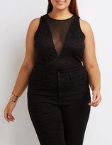 Charlotte Russe Plus Size Lace & Mesh Bodysuit