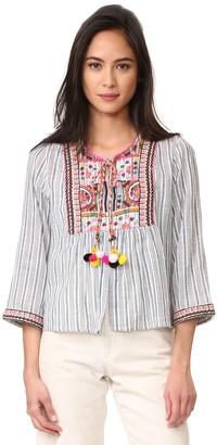 Velvet by Graham & Spencer Women's Embroidered Cotton Stripe Shirt Jacket