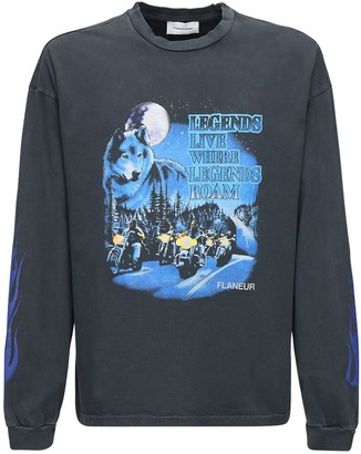 Flaneur Homme Legends Print Cotton Long Sleeve T-Shirt