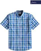 Mens Joules Blue Check Wilson Poplin Short Sleeve Shirt - Blue