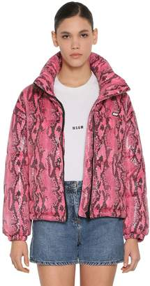 MSGM CROPPED PYTHON PRINT DOWN JACKET