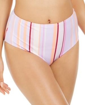 Hula Honey Juniors' Esplanade Stripe Printed High-Waist Bikini Bottoms, Created for Macy's Women's Swimsuit