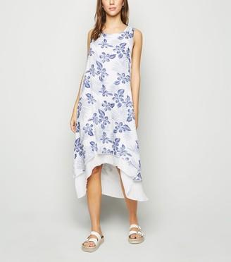 New Look Tropical Dip Hem Midi Dress