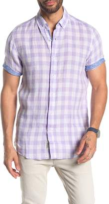 Report Collection Checkered Short Sleeve Slim Fit Linen Shirt