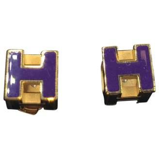Hermes Cage d'H Gold Metal Earrings