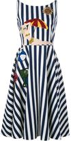 Dolce & Gabbana sleeveless striped beach applique dress - women - Silk/Cotton/Spandex/Elastane - 40