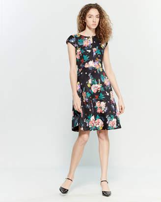 Yumi Floral Jacquard Fit & Flare Dress