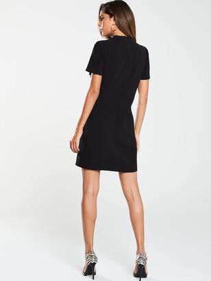 Very High Neck Simple Tunic Dress - Black