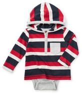 Tea Collection Eiji Happy Hoodie Bodysuit in Red/White/Navy