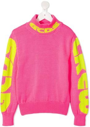 Gcds Kids Logo-Jacquard Roll Neck Sweater