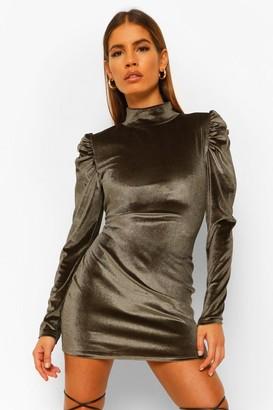 boohoo Petite Velvet High Neck Mini Dress