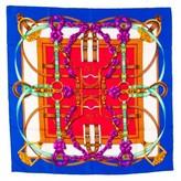 Hermes very good (VG Vintage Grand Manege Silk Twill Scarf