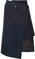 Sacai Hickory Asymmetric Pleated Striped Cotton-canvas And Organza Skirt - Navy