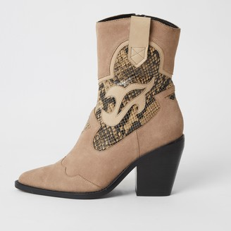 River Island Womens Beige suede snake print cut out cowboy boot