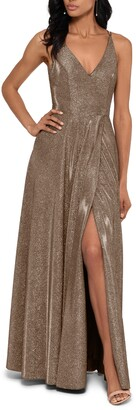 Xscape Evenings Glitter Slit A-Line Gown
