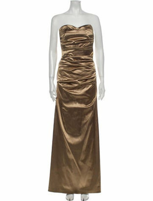 Dolce & Gabbana Strapless Long Dress Gold