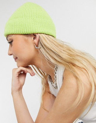 ASOS DESIGN fisherman rib beanie hat in green recycled polyester