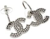 Chanel Silver Tone Metal CC Logo Earrings
