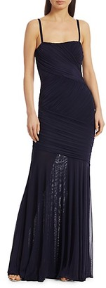 Herve Leger Sleeveless Draped Tulle Gown