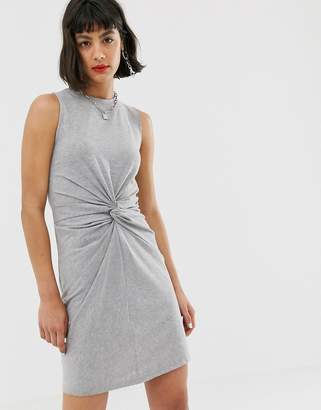 Noisy May twist front jersey mini dress in gray