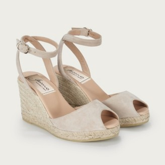 The White Company Suede Peep-Toe Wedge Espadrilles, Blush, 36