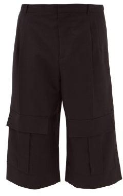 Loewe Wool-twill Cargo Shorts - Mens - Navy