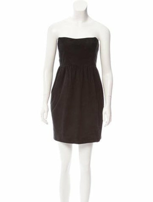The Row Suede Strapless Dress Black