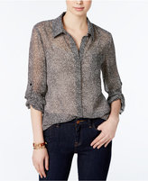 Tommy Hilfiger Roll-Tab-Sleeve Printed Shirt, Only at Macy's