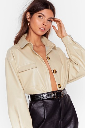 Nasty Gal Womens Faux Leather a Dull Moment Relaxed Shirt - Cream