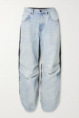 Alexander Wang Pack Mix Paneled Denim And Shell Cargo Pants - Light blue