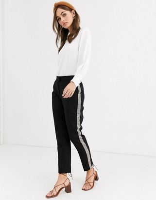 Pimkie tapered trouser with side check in black