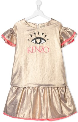 Kenzo Kids TEEN lame Eye logo ruffled dress