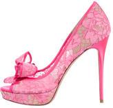 Valentino Lace Couture Bow Platform Pumps