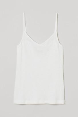 H&M Ribbed Modal-blend Tank Top - White