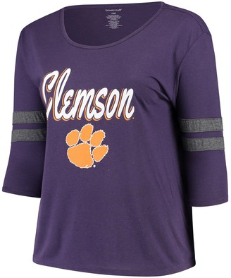 Women's Purple Clemson Tigers Plus Size Drop Tail 3/4-Sleeve Stripe T-Shirt