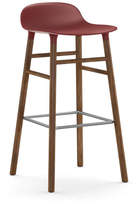 Normann Copenhagen Form Barstool H75cm Red/Walnut Plastic Shell Steel Footrest