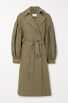 LOULOU STUDIO - Pukapuka Oversized Linen Trench Coat - Green