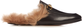Gucci Princetown fur-lined backless leather loafers