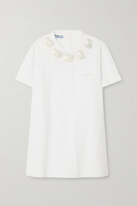 Prada Shell-embellished Appliqued Cotton-jersey T-shirt - White